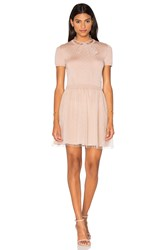 Red Valentino Short Sleeve Tulle Sweater Dress Cream