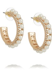 Kenneth Jay Lane Gold Tone Faux Pearl And Crystal Earrings