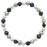 Finesse Stretch Pearl Bracelet White Blue