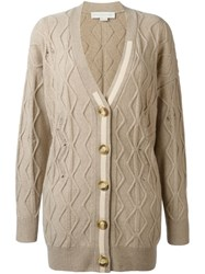 Stella Mccartney Distressed Cable Knit Cardigan Nude And Neutrals