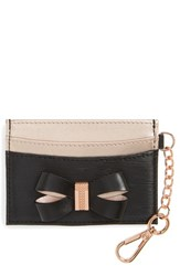 Ted Baker 'S London Meira Bow Leather Card Holder With Chain Black