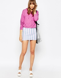American Apparel Candy Striped Bodycon Skirt Whitefltredaqua