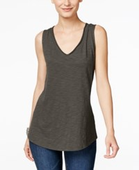 Inc International Concepts V Neck Tank Top Only At Macy's Grey Knight