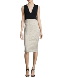 Narciso Rodriguez Sleeveless Fitted Jacquard Combo Dress Black Brown