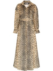 Jacquemus Leopard Print Belted Trench Coat Brown