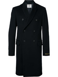 Kent And Curwen Double Breasted Coat Blue