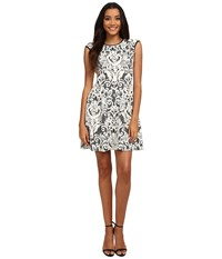 Vince Camuto Lace Fit Flare W Pleather Trim Black Ivory Women's Dress