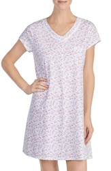 Eileen West Cotton Sleep Shirt White Ground With Multi Ditsy
