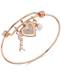 Unwritten Rose Gold Tone Loved And Crystal Heart Adjustable Bangle Bracelet In Stainless Steel