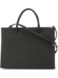 Moschino Embossed Logo Square Tote Black