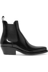 Calvin Klein 205W39nyc Claire Metal Trimmed Glossed Leather Ankle Boots Black