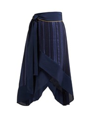 Zeus Dione Muses Striped Jacquard Silk Blend Wrap Skirt Navy