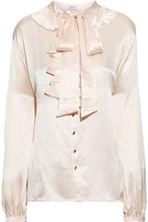 Isolda Woman Pussy Bow Ruffled Silk Charmeuse Blouse Peach
