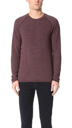 Splendid Mills Long Sleeve Crew Sweatshirt Black Plum