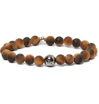 Tateossian Tiger's Eye Bead And Sterling Silver Bracelet Brown