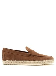 Tod's Suede Moccasin Espadrilles Brown