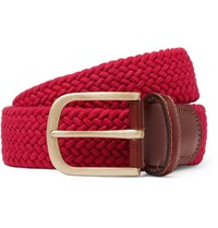Anderson And Sheppard 3.5Cm Red Leather Trimmed Woven Stretch Cotton Belt Red
