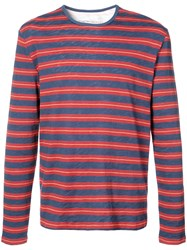 Cynthia Rowley Longsleeved Striped T Shirt Red
