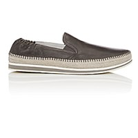 Prada Men's Leather Espadrille Sneakers Grey