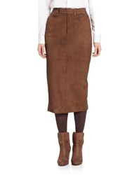 Ralph Lauren Suede Preston Trouser Skirt Mocha