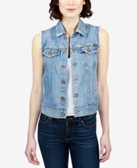 Lucky Brand Tomboy Trucker Cotton Denim Vest Bangs