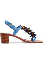 Tory Burch Emilynn Embellished Patent Leather Sandals Blue