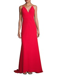 Carmen Marc Valvo Solid Double Strap Dress Red