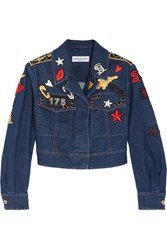 Sonia Rykiel Cropped Embroidered Stretch Denim Jacket Blue