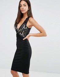 New Look Lace Detail Bodycon Dress Black
