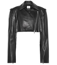 Khaite Eduarda Leather Moto Jacket Black