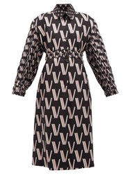 Valentino V Print Pleated Silk Faille Trench Coat Black White