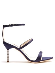 Sophia Webster Rosalind Crystal Heel Satin Sandals Navy