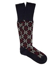 Gucci Gg Jacquard Cotton Blend Socks Navy
