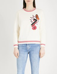 Maje Tea Embroidered Jersey Sweatshirt Cream
