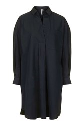 Oversized Shirt Dress By Boutique Navy Blue