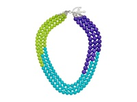 Gypsy Soule Beaded Statement Necklace Lime Turquoise Purple Necklace Multi