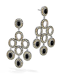 John Hardy Sterling Silver And 18K Bonded Gold Dot Gold Chandelier Earrings With Black Onyx 100 Exclusive Black Gold