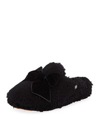 Ugg Addison Velvet Bow Curly Sheepskin Slippers Black