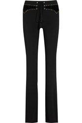Roberto Cavalli Embellished Velvet Paneled Stretch Cady Flared Pants Black