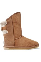 Australia Luxe Collective Spartan Ribbed Paneled Shearling Boots Brown