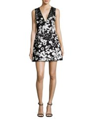 Alice Olivia Patty Floral Print Satin Lantern Dress Black White