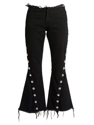 Marques Almeida Frayed Edge Mid Rise Flared Jeans Black