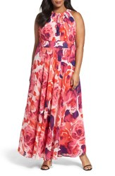 Eliza J Plus Size Women's Floral Print Halter Maxi Dress
