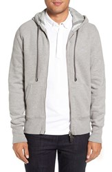 Burberry Men's 'Claredon' Full Zip Hoodie Pale Grey Melange