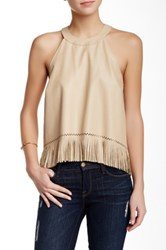 Madison Marcus Faux Leather Fringe Halter Tank Brown