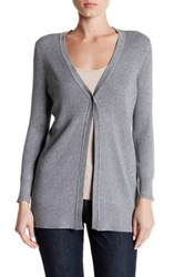 Cable And Gauge Rib Knit Cardigan Gray