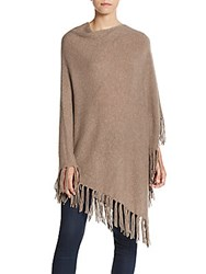 Cashmere Saks Fifth Avenue Fringe Poncho Suede