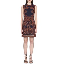 Valentino Giraffe Intarsia Stretch Knit Dress Blue Orange