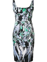 Milly Printed Fitted Dress Black