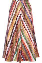 Rosie Assoulin Melted Rainbow Embroidered Poplin Midi Skirt Us10